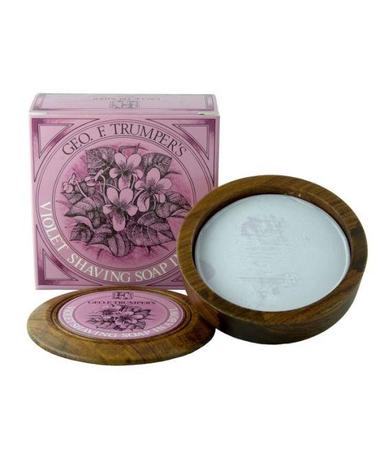 GF Trumper Violets Shaving Soap In a Wooden Bowl