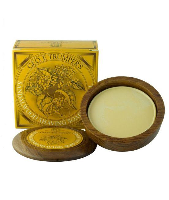 GF Trumper Sandalwood Shaving Soap In a Wooden Bowl