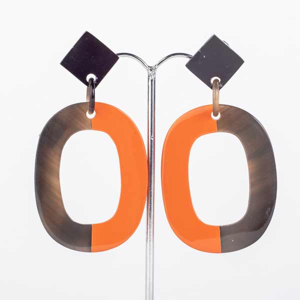 AW19-Jewellery-my-Doris-Horn-oval-orange-lacquer-earring