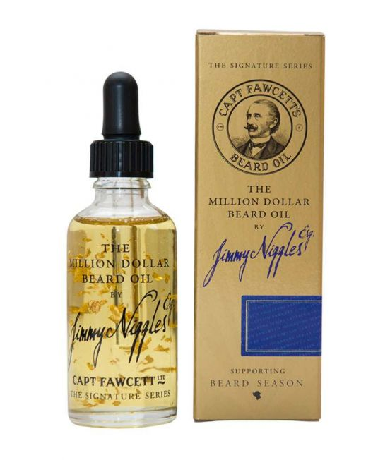 "A bottle of Captain Fawcett ""Jimmy Niggles"" Million Dollar Beard Oil with dispensing pippette,"