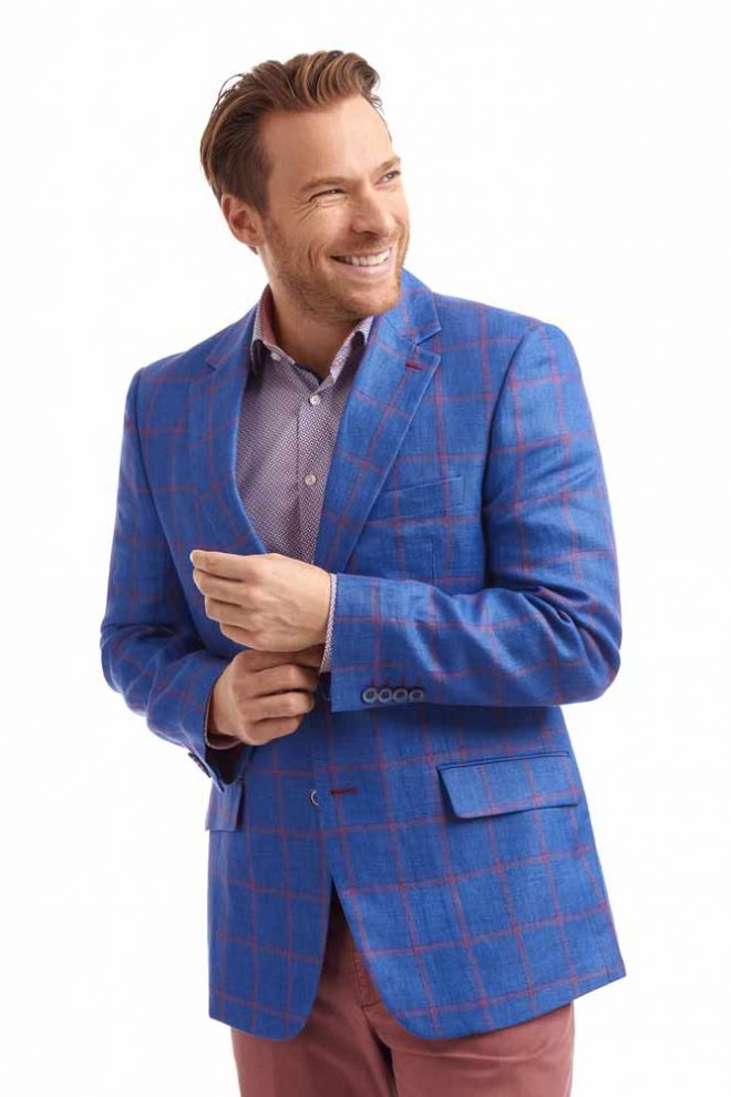 Abrahams Blue & red check linen jacket