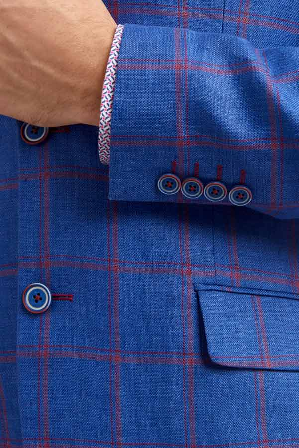 Abrahams Blue & red check linen jacket Detail