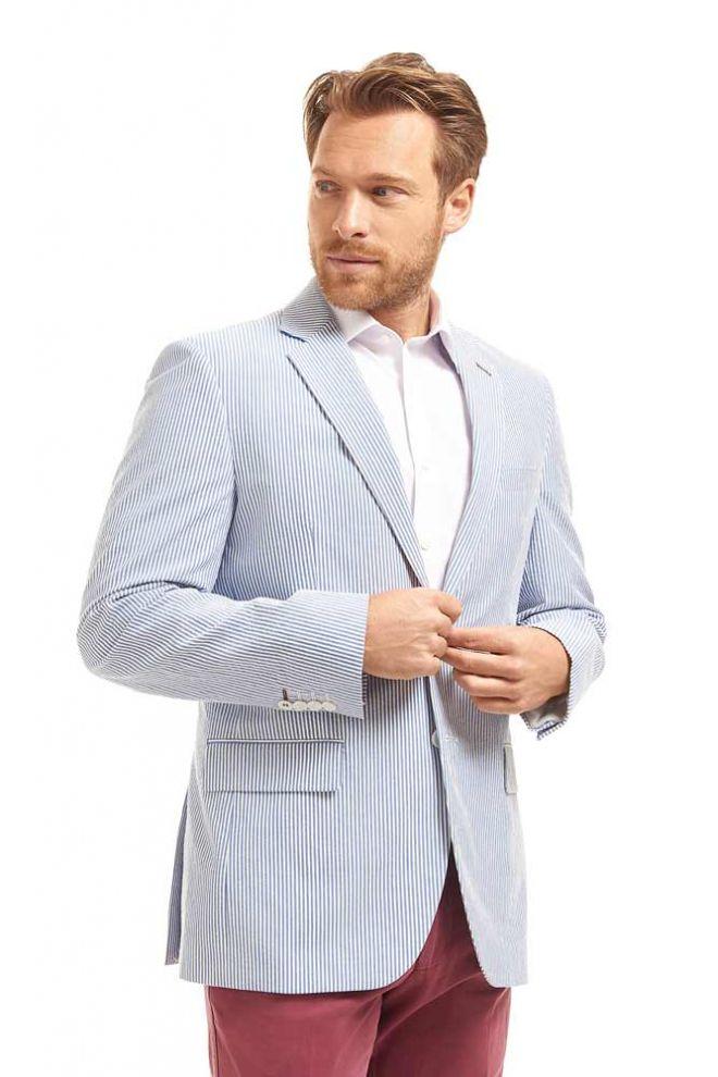 Abrahams Light Blue striped cotton jacket