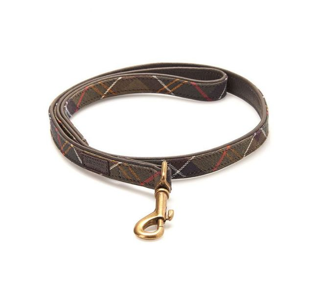 Barbour Classic Green Tartan leathter dog lead
