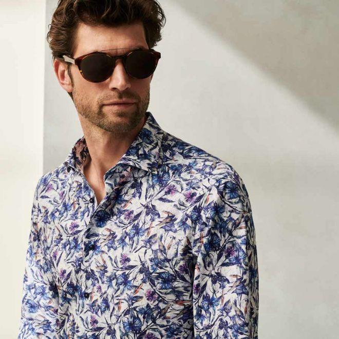 ETERNA poplin blue white printed shirt