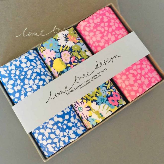 Lime Tree Design 3 liberty lawn hankies 'in the pink'