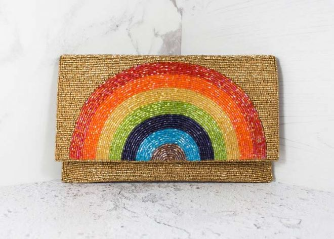 My Doris rainbow beaded clutch