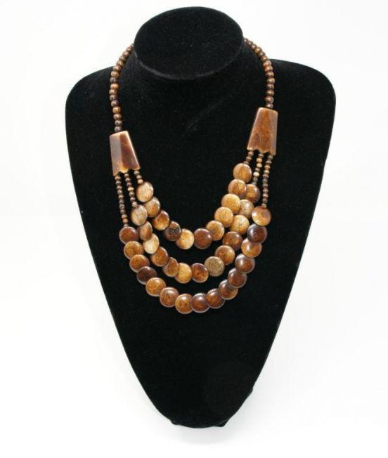 Bobo Blue Multi Strand Necklace in Camel Bone