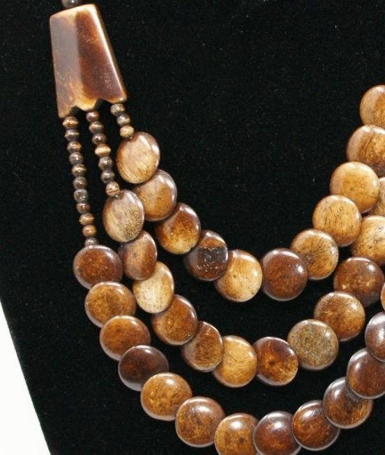 Bobo Blue Multi Strand Necklace in Camel Bone - Close up