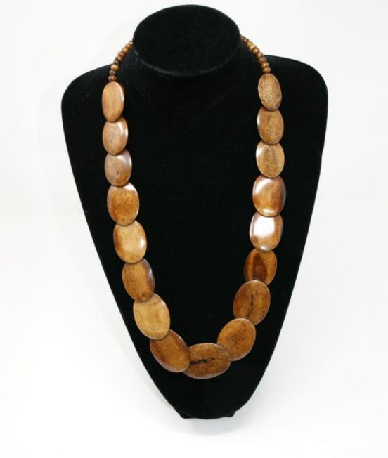 Bobo Blue Flat Disc Necklace in camel bone