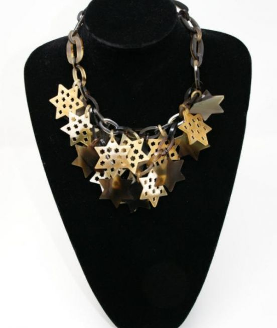 Spanish & Sisters Carved Stars necklace in pale oxhorn
