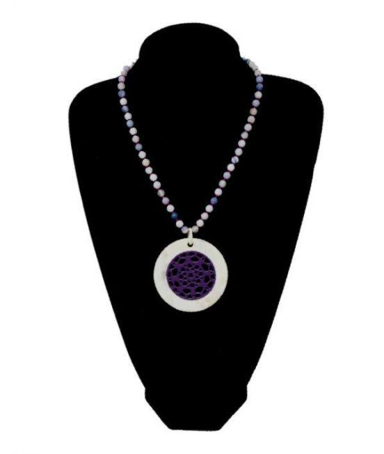 long view of white/purple pendant on lilac quartz bead chain