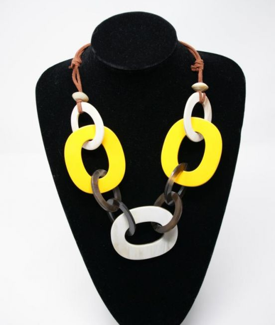 MP Large Hoops Necklace featuring large yellow and white lacaquered hoops - Close up