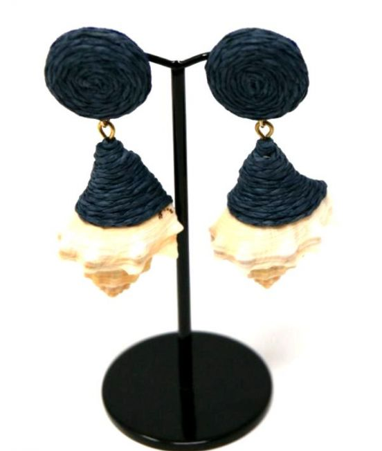 Narratives Shell and Navy Earrings