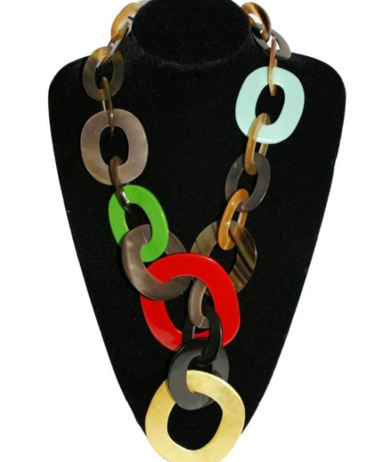 Capella Horn Oxhorn large hoop necklace in multiple colour lacquers