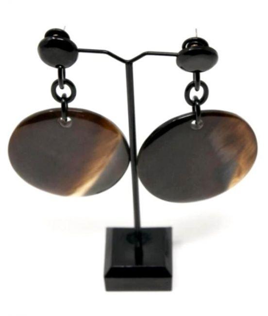 Capella Horn Oxhorn Large Disk Earrings - Dark