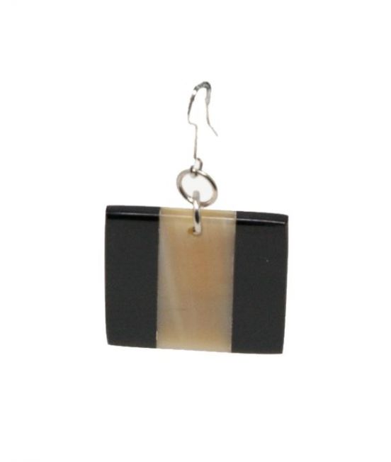 Indochineur Oxhorn Striped Earrings - dark/pale - close up