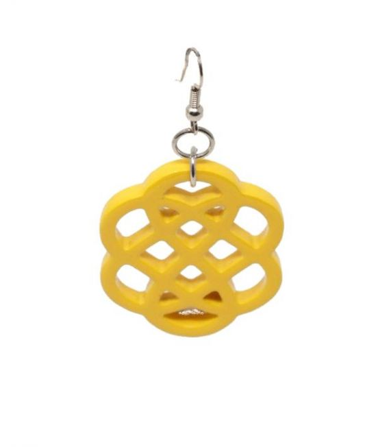 Indochineur Oxhorn Flower Earrings - yellow lacquer - close up