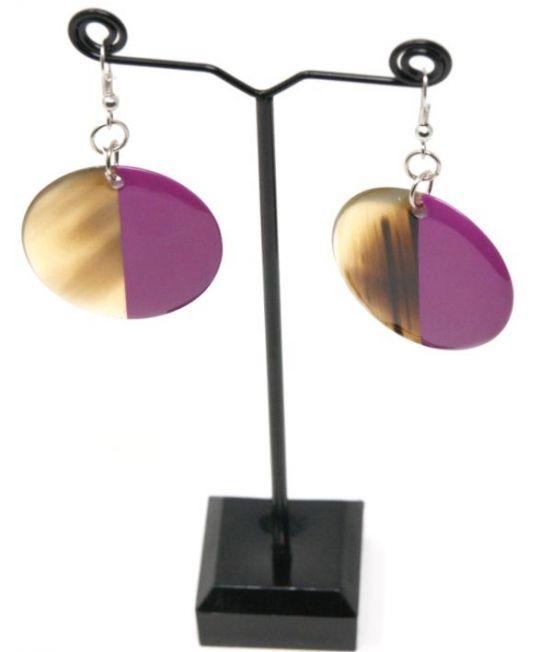 Indochineur Oxhorn Circle Earrings - fuschia lacquer
