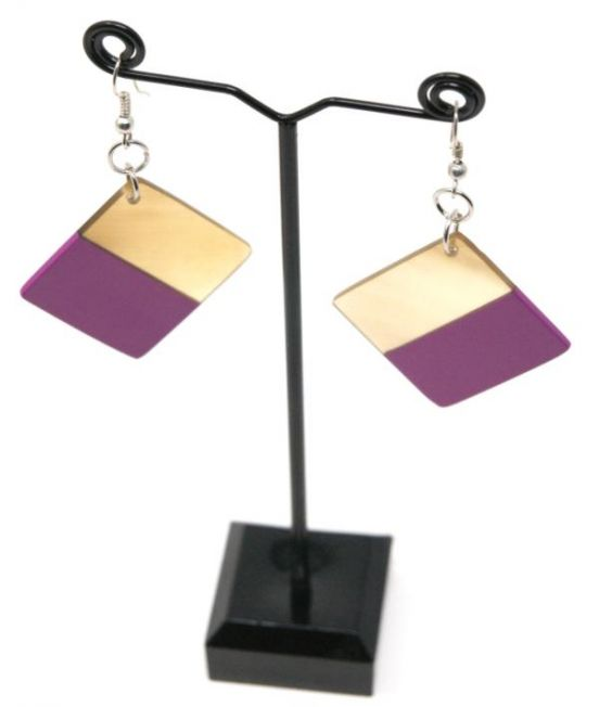 Indochineur Oxhorn Square Earrings - fuschia lacquer