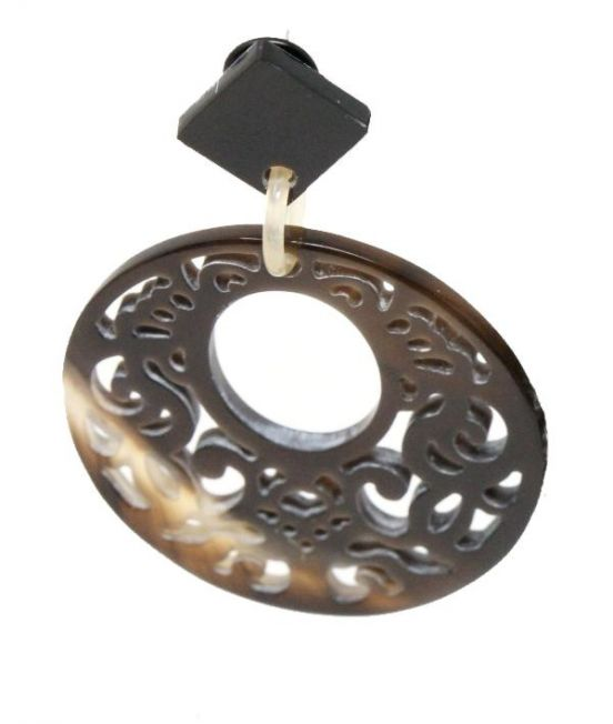 Indochineur Oxhorn Large Circle Earrings - dark with fretwork - close up