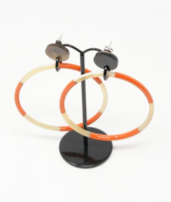 My Doris Oxhorn Very Large Hoop Earrings - with orange & white lacquerr