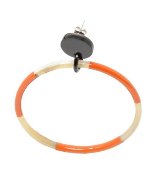 My Doris Oxhorn Very Large Hoop Earrings - with orange & white lacquer- close up