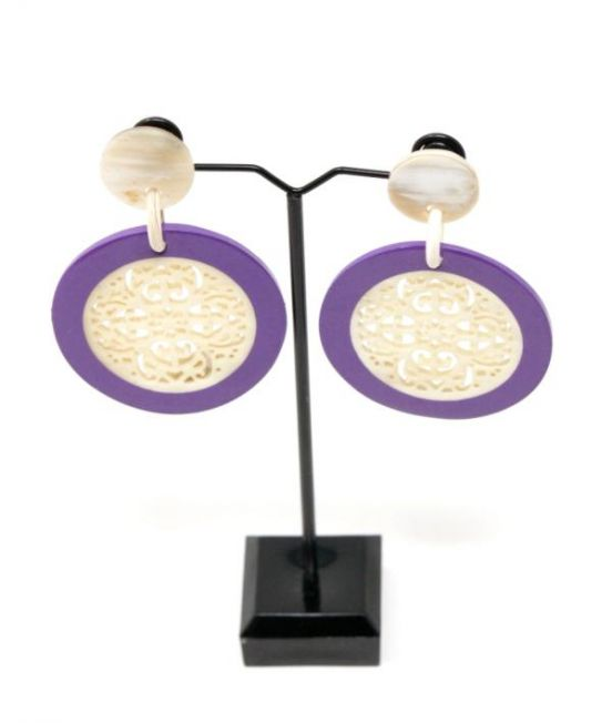 Spanish & Sisters Round Mandala Earring white with lilac lacquer