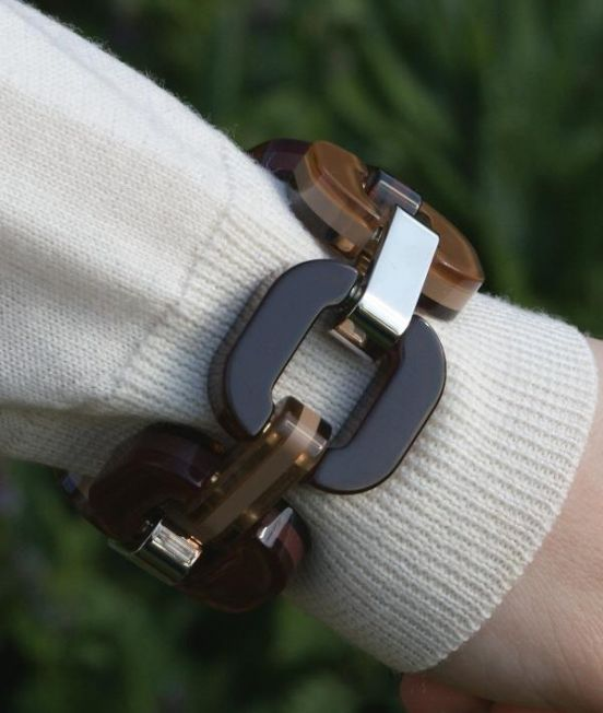 Close up of Xavier Derome Black and Browns reversible bracelet, showing one side when worn