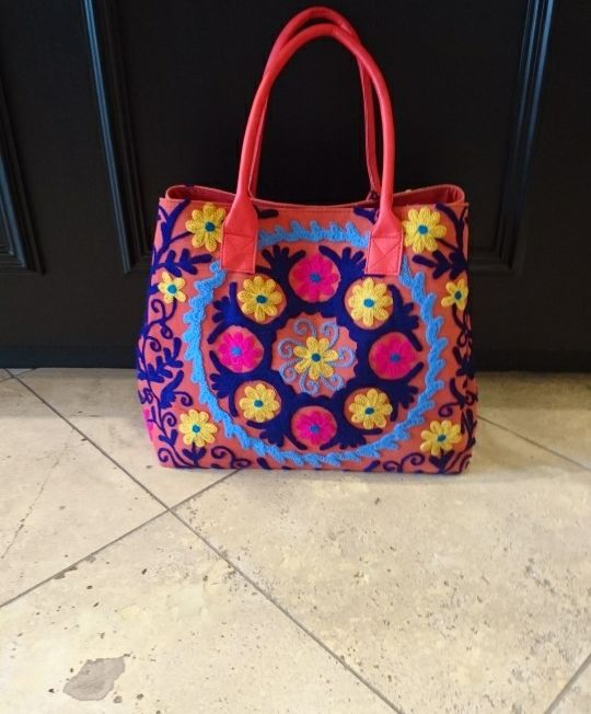 Brightly coloured tote bag with crewel work - narrow