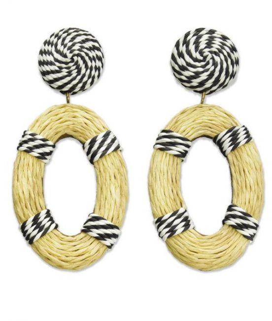 Nrratives Navy & White Stipe Raffia Drop Earrings