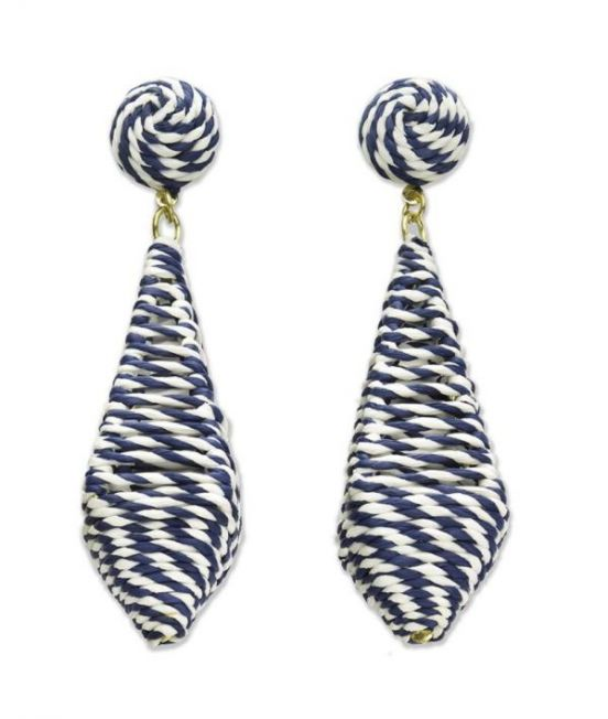 Narratives Navy & White Stripe Cage Diamond Drop Earrings