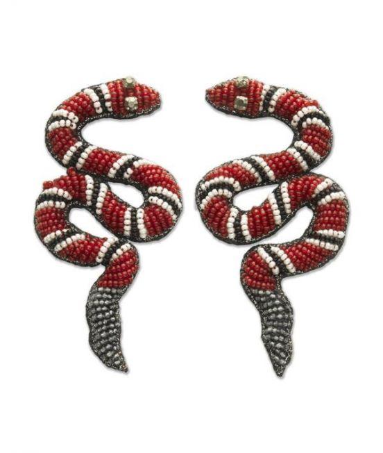 Narratives Red Beaded Snake Earrings