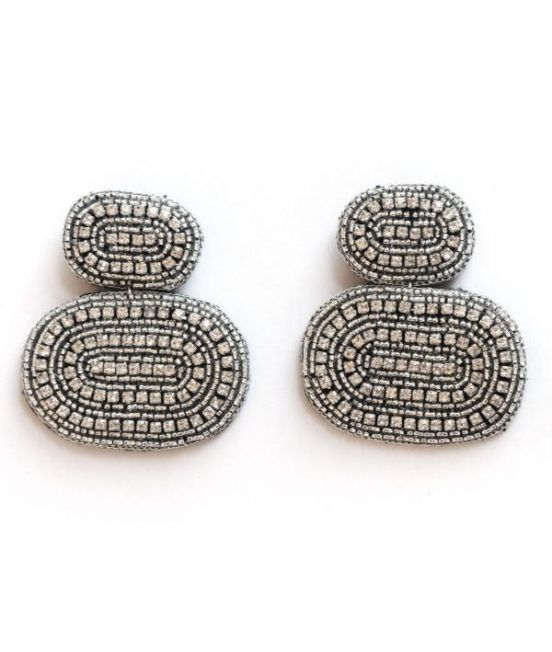 Narratives Crystal Double Oval Stack Earrings