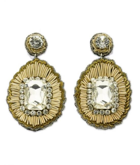 Narratives Gold Central Stone Earrings