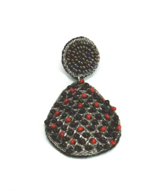 Narratives Red & Black Beaded Earrings - Close Up