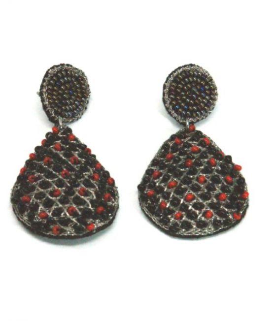 Narratives Red & Black Beaded Earrings