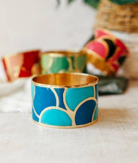 Brass & Enamel Bangle