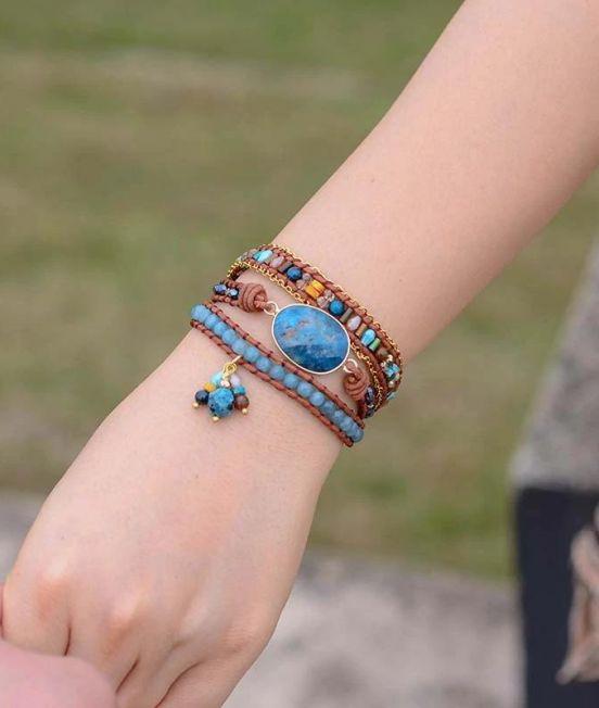 Blue Apatite bracelet worn