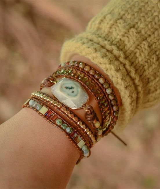 White agate bracelet on wrist