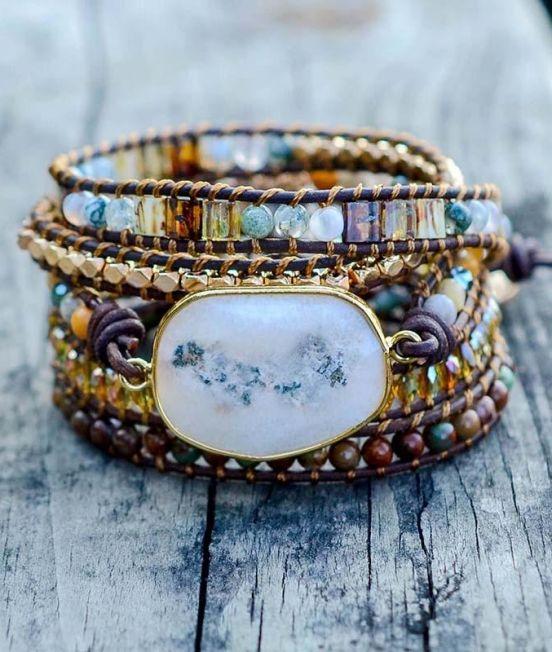 Bracelet white agate